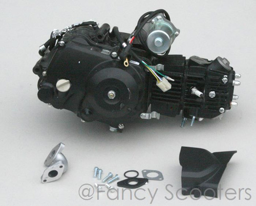 110cc 4-stroke Whole Engine with Side Cover, Intake, Gasket (Automatic, Starter on the Top)